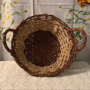 Vintage hand woven twig rope handled fruit basket